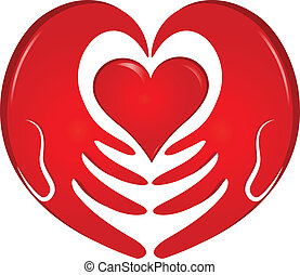 manos, tenencia, corazón, logotipo