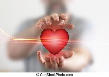 manos, tenencia, corazón rojo