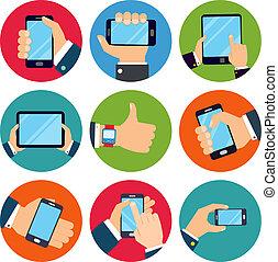 manos, tenencia, dispositivos