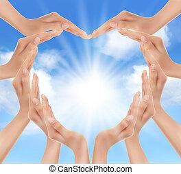 manos, tenencia, el, sun., vector, illustration.