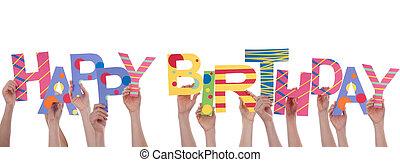 manos, tenencia, feliz cumpleaños
