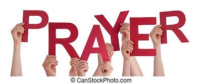 manos, tenencia, gente, oración, muchos, rojo, palabra