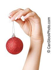 manos, tenencia, pelota de navidad, aislado, encima, blanco