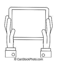 manos, tenencia, tableta, icono