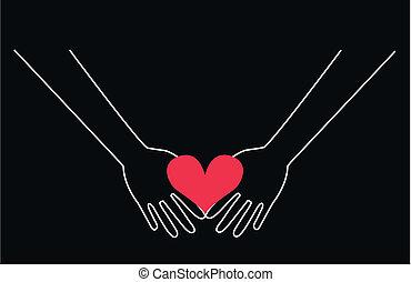 manos, tenencia, un, corazón