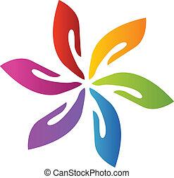 manos, trabajo en equipo, flor, logotipo, vector
