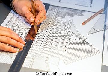 manos, trabajo encendido, construcción, disposición, project.