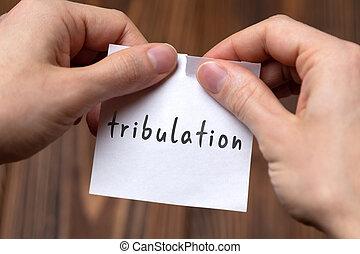 manos, tribulation, rasgado, concept., inscripción, problema, hoja, papel, tratar