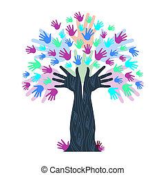 manos, tronco, árbol, indica, crecimiento, ilustraciones