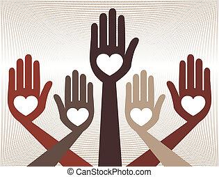 manos, unido, provechoso, design.