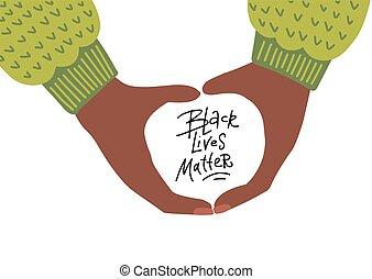 manos, vector, afro, tenencia, negro, mano, vidas, dibujado, plano, quote., ilustración, letras, matter.