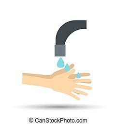 manos, vector, debajo, tap., estilo, agua que cae, plano, ilustración, afuera