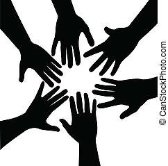 manos, vector, juntos
