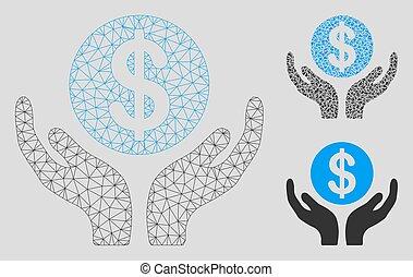 manos, vector, mantenimiento, triángulo, modelo, 2d, malla, icono, financiero, mosaico