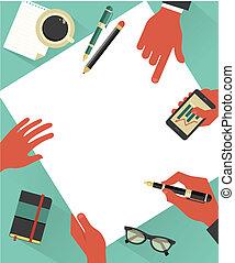 manos, vector, reunión, plano de fondo, empresa / negocio