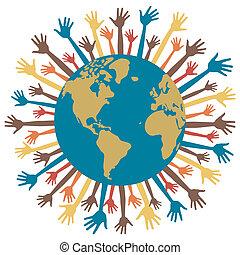 manos, world., muchos