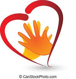 manos, y, corazón, símbolo, icono, vector