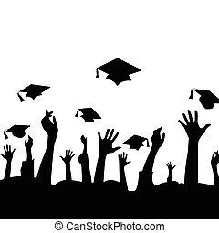 manos, y, graduación, sombreros