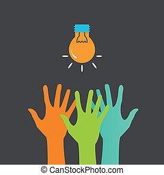 manos, y, luz, bulb., búsqueda, ideas., vector, impresión