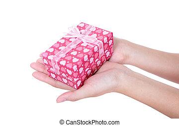 manos, y, regalo, cicatrizarse
