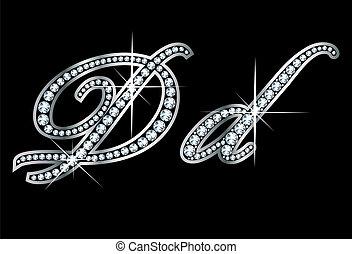 manoscritto, dd, bling, lettere, diamante