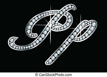 manoscritto, pp, bling, lettere, diamante