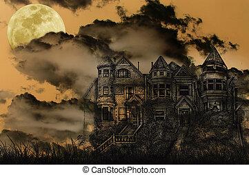 mansão, assombrado, dia das bruxas