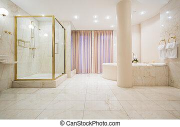 mansão, banheiro, luxo, espaçoso