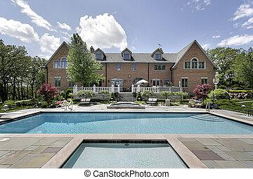 mansão, com, piscina