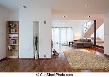 mansão, vivendo, quarto moderno
