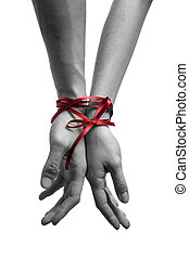 hands tieing with ribbon - mans and girls hands tieing with ...