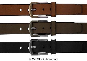 belt - Man's belts set on white background
