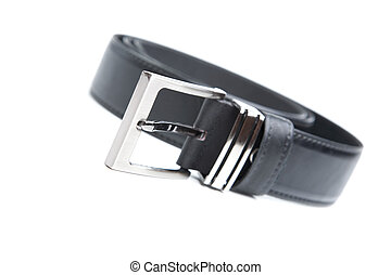 Man's black belt isolated