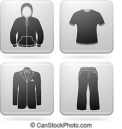 Man\'s Clothing theme icons set covering all man\'s may...