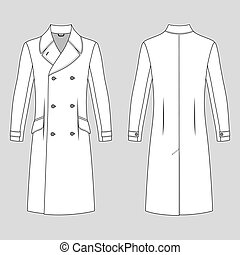 Man's coat outlined template (front & back view), vector...