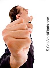 man\'s, do góry, ręka, napięty, zamknięcie, prospekt