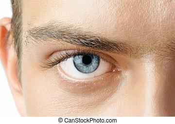 Man\\\'s eye - Macro shot of man\\\'s blue eye with visible...