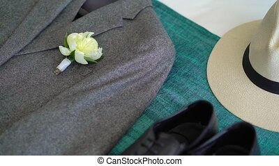 Man's fashion accessories and clothes: shoes, hat and jacket