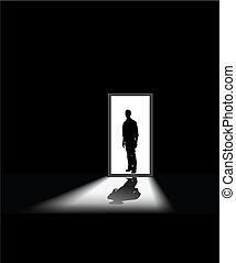 man's fear - man enters a dark room, to illustrate concept ...