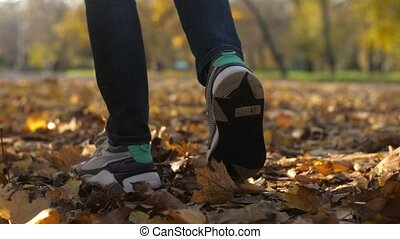 Man`s feet strolling and rustling with orange leaves in a park in autumn in slo-mo