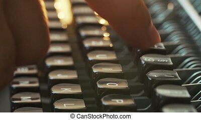 Man's Fingers Typing The Old Metal Typewriter, Retro Style. Close-up