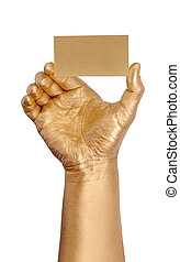 Man's golden hand holding an empty business card over white background