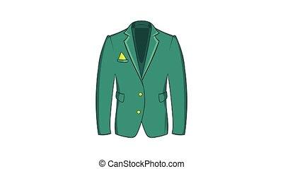 Mans green jacket icon animation cartoon best object isolated on white background