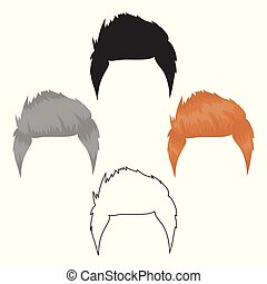 Man's hairstyle icon in cartoon style isolated on white...