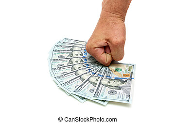 man's hand and dollars on a white background