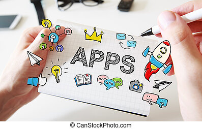 Mans hand drawing APPS concept on notebook