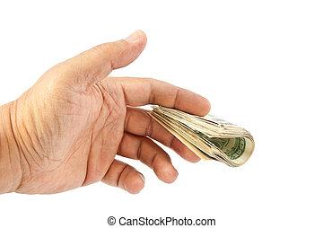 Man's hand giving dollars