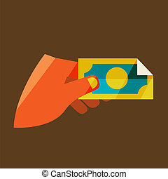 Man's hand holding a banknote.