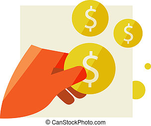 Man's hand holding a coin
