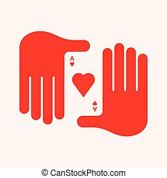 Man's Hand Holding an Ace of Hearts. Playing Card